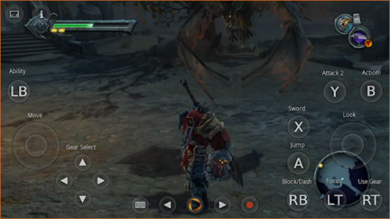 Darksiders's control scheme on the OnLive game-streaming service.