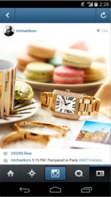 Embedded in-feed ad, Michael Kors