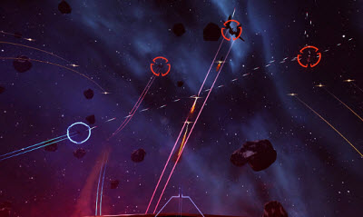 Scene from Eve: Valkyrie, which supports the Oculus Rift.