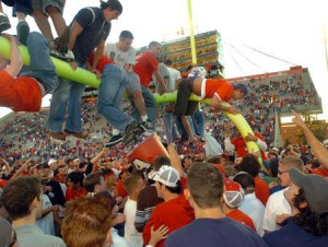 Fans storming the goal post.