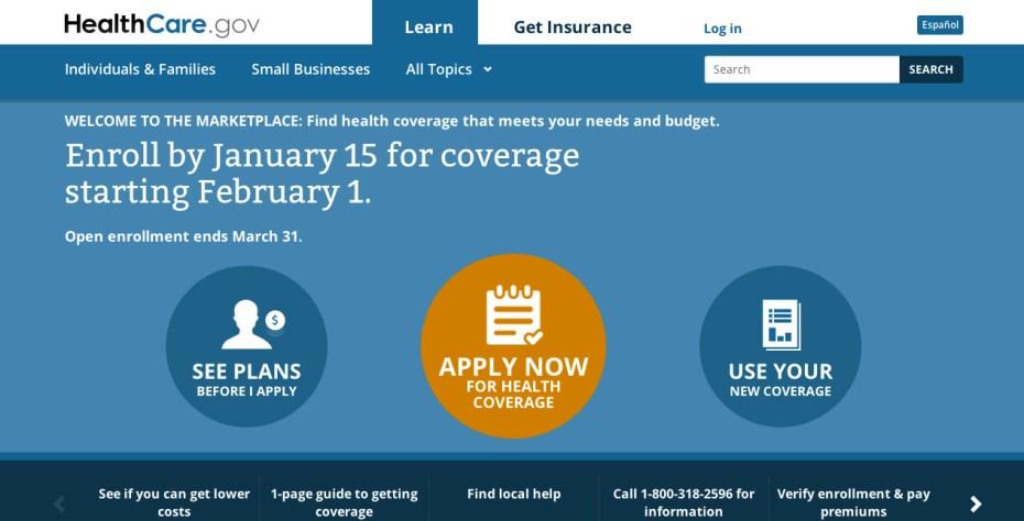 A screenshot of the HealthCare.gov website.