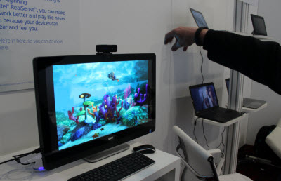 Intel's gesture recognition works up close to the screen.