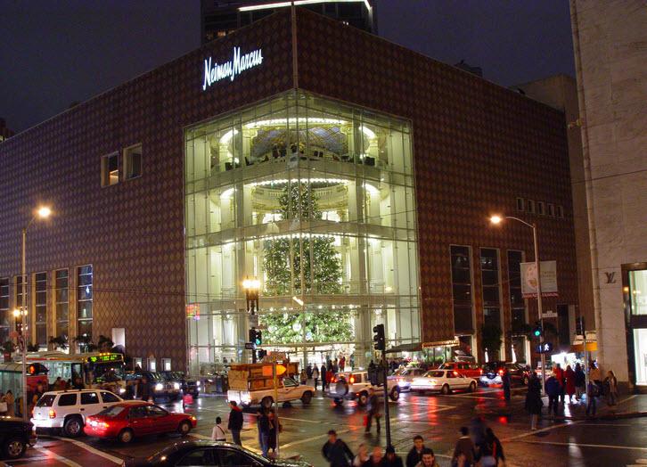 Neiman Marcus store at night