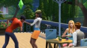 Cafe scene in The Sims 4