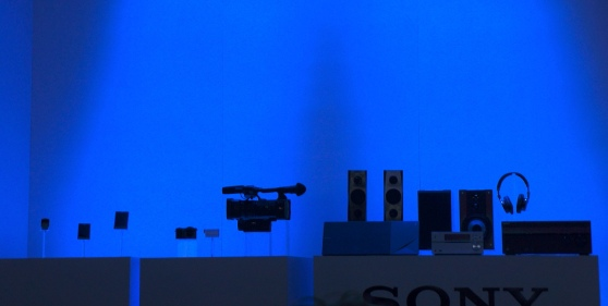 A table showcasing Sony's new products just prior to its press event at CES 2014.