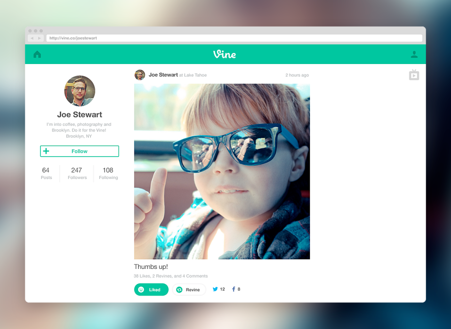 Vine launches full profiles on the Web.