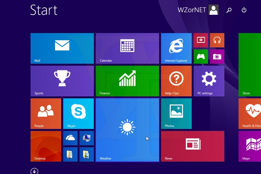 """A leaked screenshot of Windows 8.1 Update 1 from Russian leaker """"WZor,"""" prior to its release."""