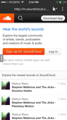 Soundcloud's mobile site in Kik's mobile messaging app
