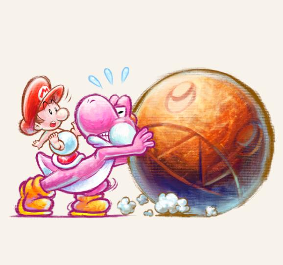 Yoshi's New Island Yoshi pushing a rock