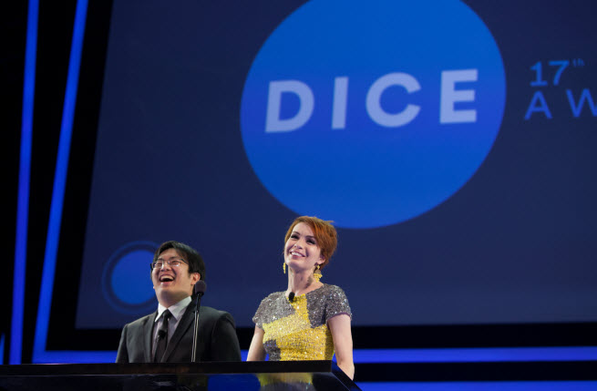 Felicia Day and Freddie Wong laughing