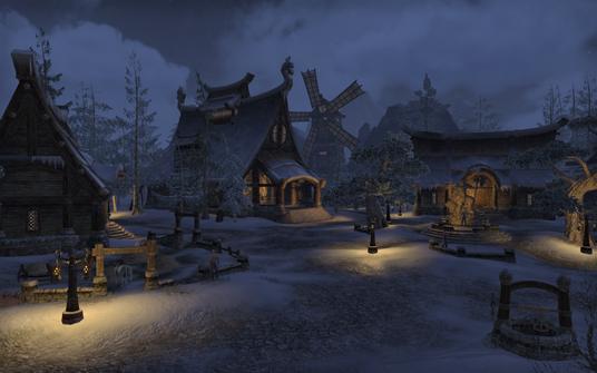 The town center of Bleakrock Isle, a snowy island in The Elder Scrolls.