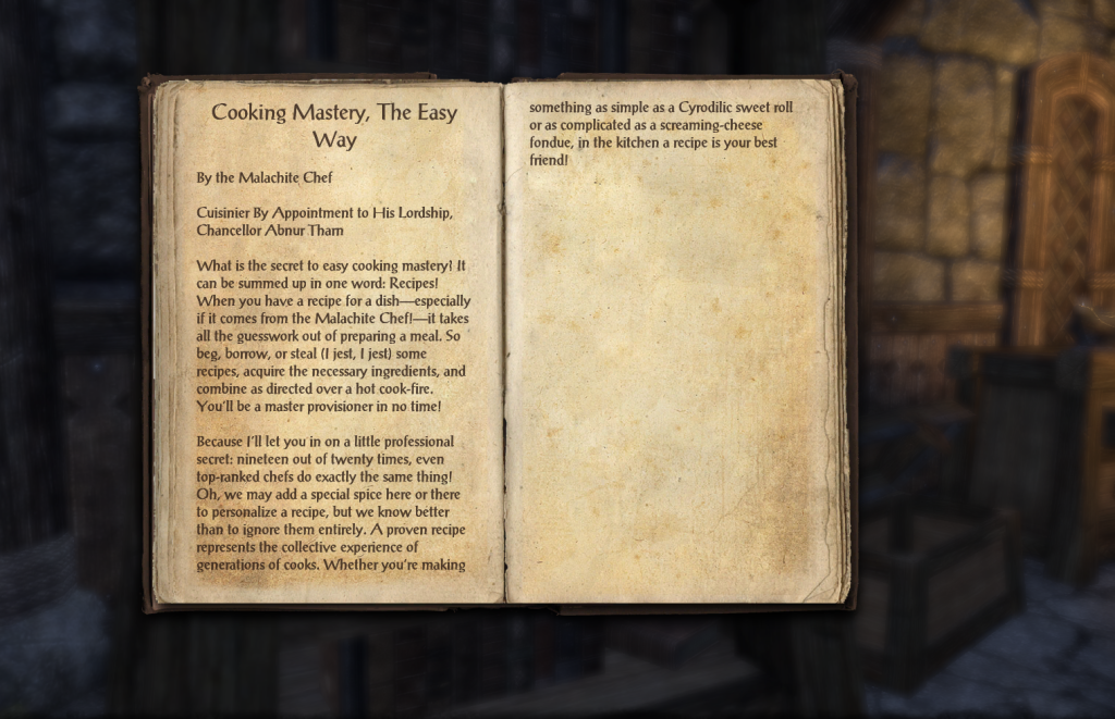 A cookbook from The Elder Scrolls Online.