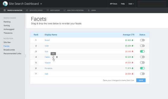 Part of BloomReach's backend, which is almost entirely drag-and-drop