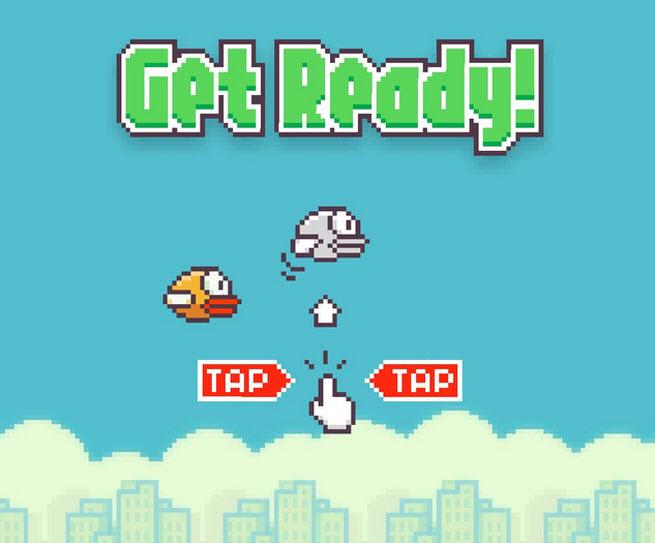 The Flappy Bird start screen.