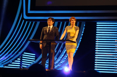 Freddie Wong and Felicia Day at Dice Awards