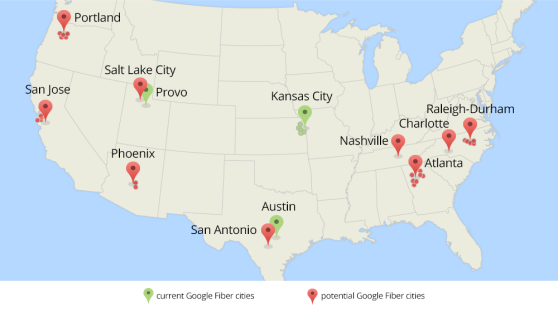 A map showing each region Google Fiber would like to expand service to.