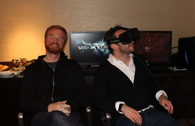Hilmar Veigar Petursson (left) of CCP and Brendan Iribe of Oculus VR (right).