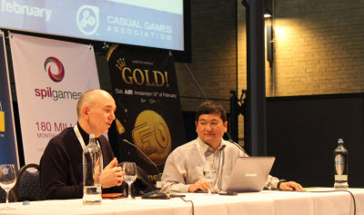 Peter Molyneux and Dean Takahashi at Casual Connect Europe
