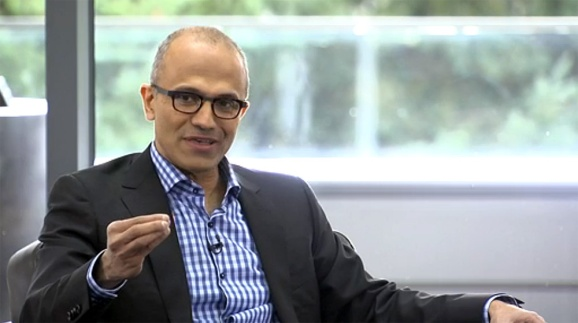 Satya Nadella addresses Microsoft customers in his first public remarks as CEO.