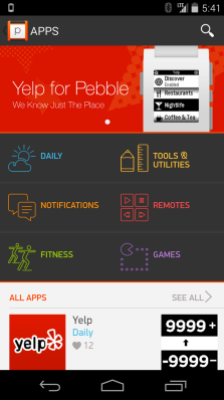 A first look at the Yelp app for Pebble in the Pebble appstore on Android.