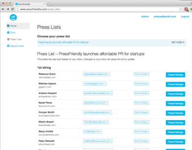 Press list example