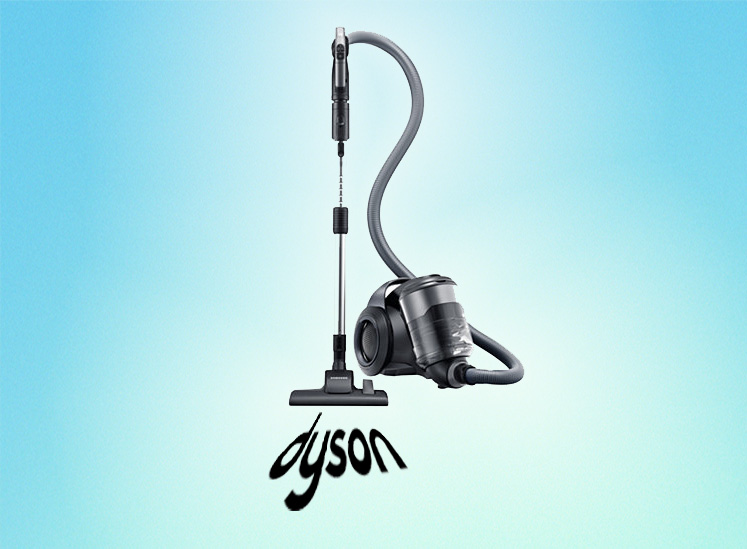 """Samsung's """"Motion Sync"""" vacuum cleaner is pictured sucking up Dyson's logo."""