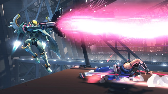 Fighting one of the game's bosses.