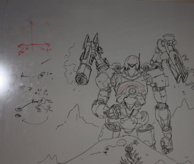 A game character on a USC whiteboard