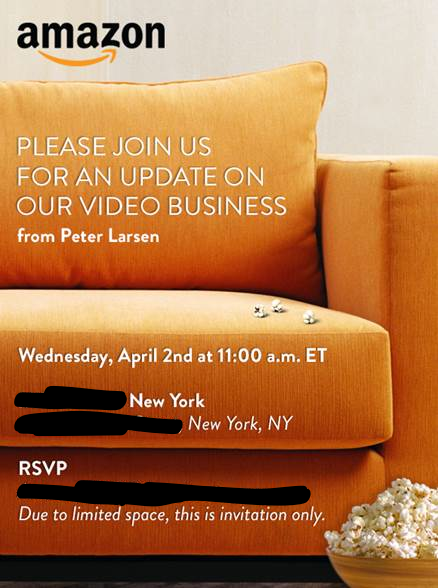The invitation Amazon sent for a press event to discuss the company's video business.