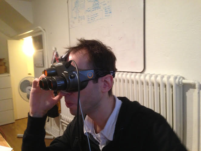 The CES 2013 prototype of True Player Gear's VR headset.