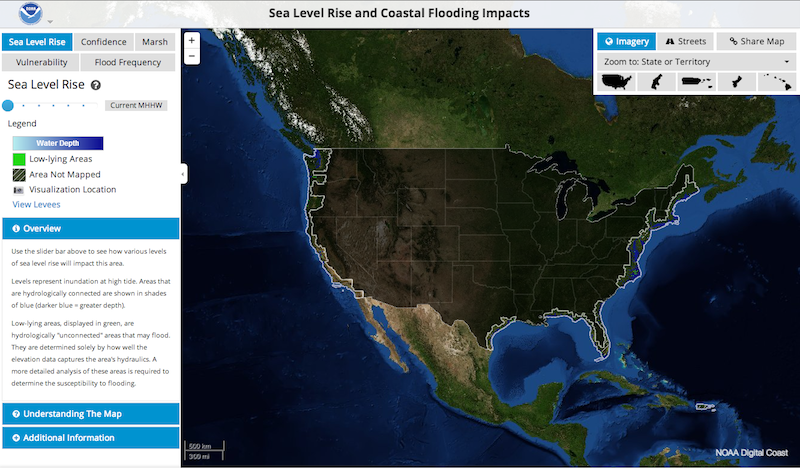 A coastal flooding tool, available through the federal government's new climate change site