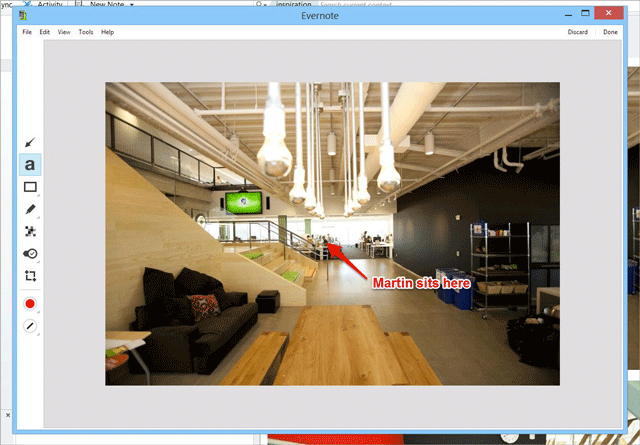 An annotated image in Evernote for Windows.