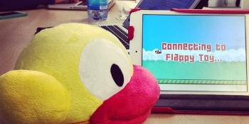 Flappy is a toy-controlled game of Flappy Bird that you can throw in frustration