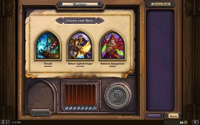 Hearthstone Choosing Arena Hero