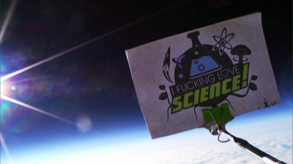 "The ""I f*cking love science"" logo in space"
