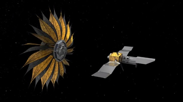 A concept image of NASA's sunflower-shaped, two-part 'starshade' spaceship.