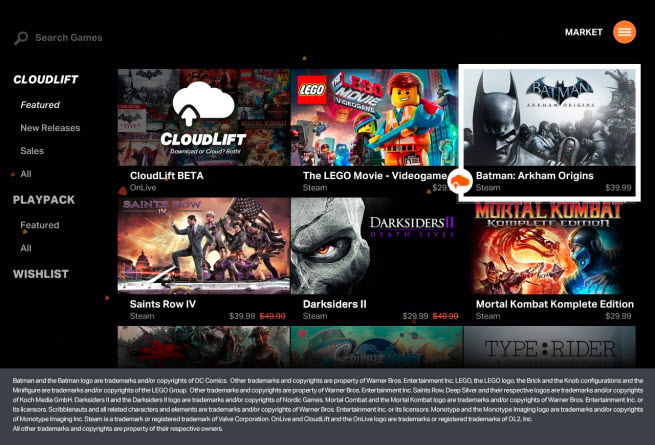 OnLive CloudLift screens