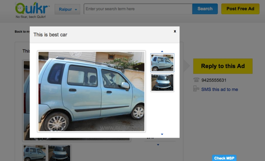 "A listing for the ""best car"" on Quikr."