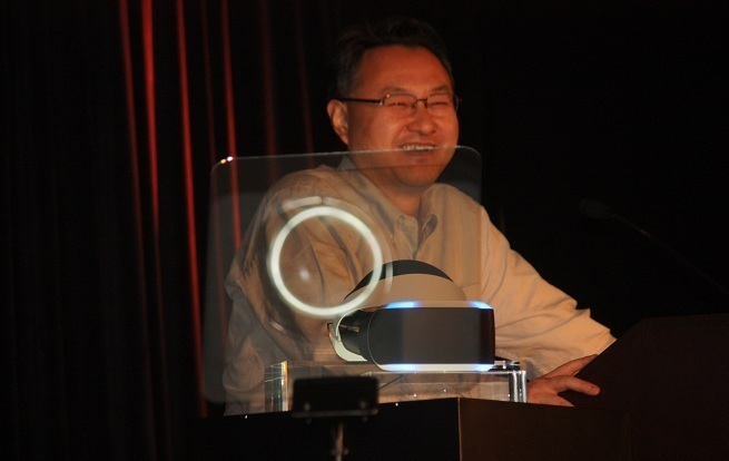 Sony exec Shuhei Yoshida shows off Project Morpheus, the virtual-reality headset for the PlayStation 4.