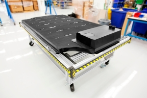 The custom battery pack Tesla uses for its Tesla Model S. Inside are hundreds of lithium cells.