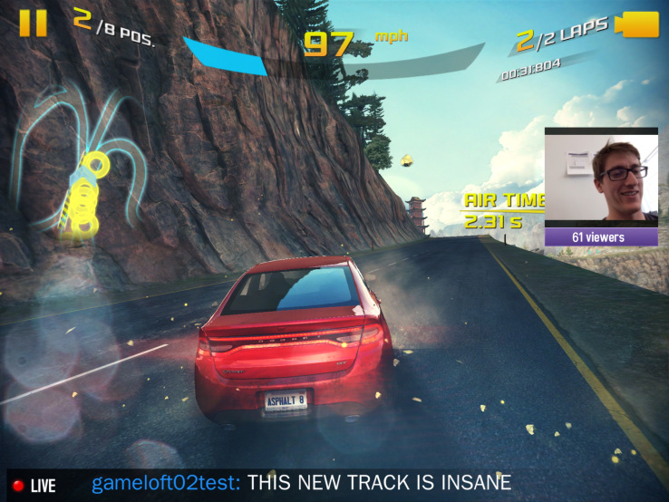Asphalt gameplay streaming to Twitch from an iOS device.