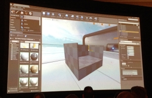 A picture of the Unreal Engine 4 editor being demonstrated during the Epic Games press conference at GDC 2014.