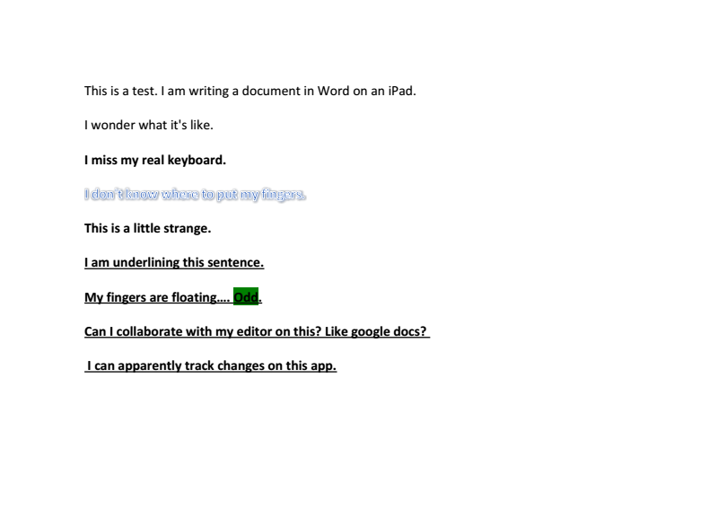 A document I managed to make in Microsoft Word for iPad.