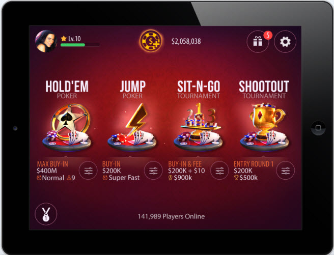 Zynga Poker lobby