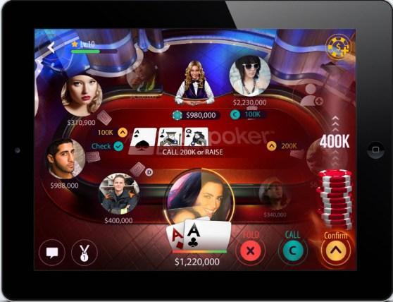 Zynga Poker's new table look