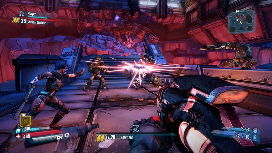 A first person perspective shot of Borderlands The Pre Sequel gameplay.
