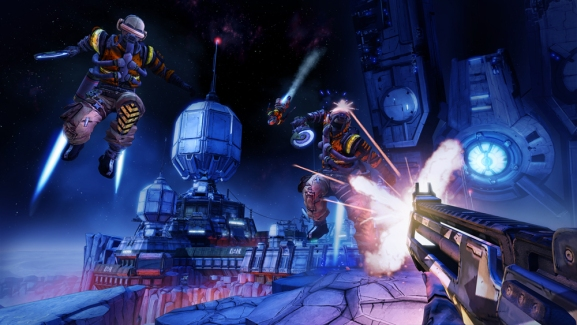 A scene set on the moon of Pandora, with two bandits in jetpacks jumping at the player, who is shooting at them.