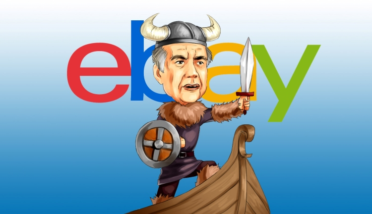 Carl Icahn as a viking aboard the great ship eBay.