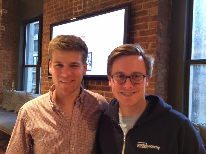 Codecademy founders Zach Sims (CEO) and Ryan Bubinski (CTO)