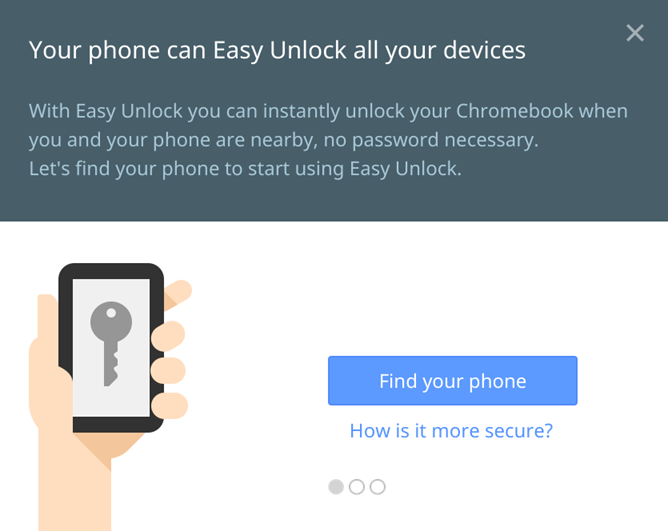 The 'Easy Unlock' dialog discovered in a developer channel of Chrome OS.